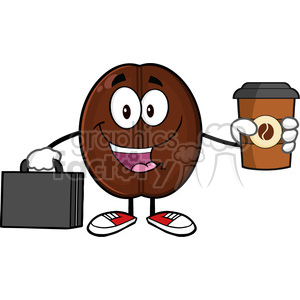 illustration businessman coffee bean cartoon mascot character with briefcase holding a coffe cup to go vector illustration isolated on white clipart. Commercial use image # 399436