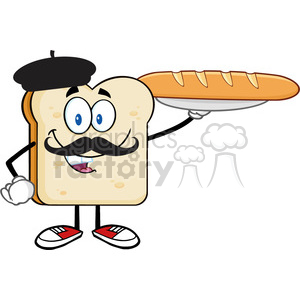 illustration bread slice cartoon character with baret and mustache presenting perfect french bread baguette vector illustration isolated on white background clipart. Commercial use image # 399446