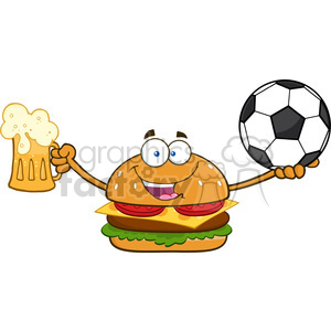 illustration happy burger cartoon mascot character holding a beer and soccer ball vector illustration isolated on white background clipart. Royalty-free image # 399468