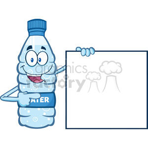 cartoon ilustation of a water plastic bottle mascot character holding and pointing to a blank banner vector illustration isolated on white background clipart. Commercial use image # 399488