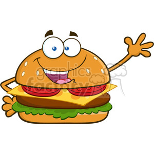 illustration happy burger cartoon mascot character waving for greeting vector illustration isolated on white background clipart. Royalty-free image # 399498