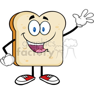 illustration cute bread slice cartoon character waving for greeting vector illustration isolated on white background clipart. Royalty-free image # 399508
