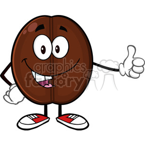 illustration cute coffee bean cartoon mascot character giving a thumb up vector illustration isolated on white clipart. Commercial use image # 399518