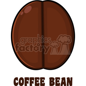 illustration roasted coffee bean cartoon vector illustration with text isolated on white clipart. Commercial use image # 399528