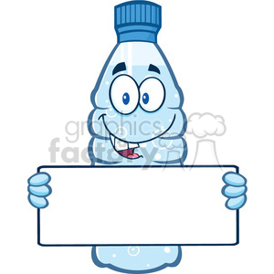 illustration cartoon ilustation of a water plastic bottle cartoon mascot character holding a blank sign vector illustration isolated on white background clipart. Royalty-free image # 399548