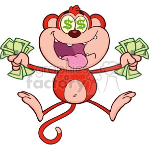 royalty free rf clipart illustration rich red monkey cartoon character jumping with cash money and dollar eyes vector illustration isolated on white clipart. Commercial use image # 399583