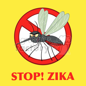 royalty free rf clipart illustration stop mosquito cartoon character with prohibited symbol vector illustration with background with text stop!zika clipart. Royalty-free image # 399603