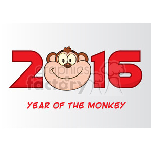 royalty free rf clipart illustration 2016 year of the monkey cartoon vector illustration greeting card clipart. Royalty-free image # 399623