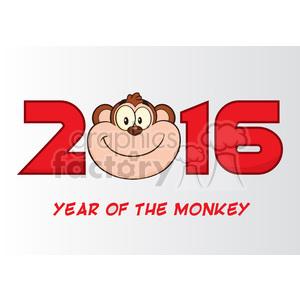 royalty free rf clipart illustration 2016 year of the monkey cartoon vector illustration greeting card