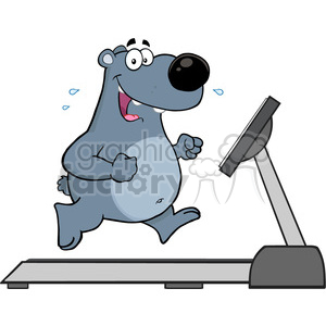 royalty free rf clipart illustration smiling gray bear cartoon character running on a treadmill vector illustration isolated on white clipart. Commercial use image # 399653