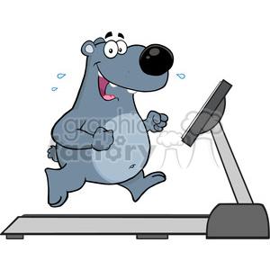 fitness health healthy exercise cartoon character treadmill bear bears