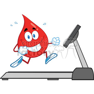 royalty free rf clipart illustration healthy blood drop cartoon character running on a treadmill vector illustration isolated on white clipart. Royalty-free image # 399691