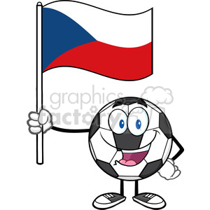 happy soccer ball cartoon mascot character holding a flag of the czech republic vector illustration isolated on white background clipart. Royalty-free image # 399721
