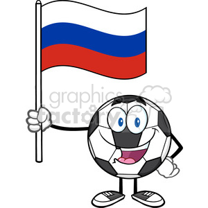 happy soccer ball cartoon mascot character holding a flag of russia vector illustration isolated on white background clipart. Royalty-free image # 399731