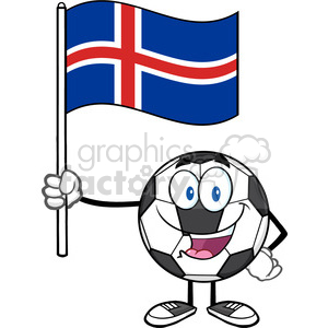 happy soccer ball cartoon mascot character holding a flag of iceland vector illustration isolated on white background clipart. Royalty-free image # 399741
