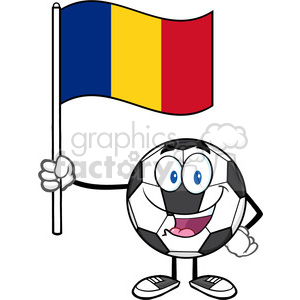 happy soccer ball cartoon mascot character holding a flag of romania vector illustration isolated on white background clipart. Royalty-free image # 399771