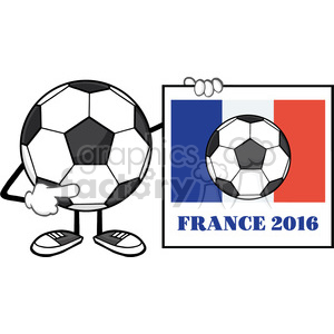 clipart illustration soccer ball faceless cartoon mascot character pointing to a sign with france flag and text france 2016 year vector illustration isolated on white background clipart. Royalty-free image # 399781