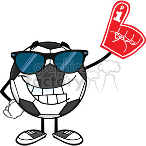 smiling soccer ball cartoon mascot character with sunglasses wearing a foam finger vector illustration isolated on white background clipart. Royalty-free image # 399791