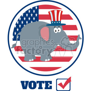 republican elephant cartoon character with uncle sam hat over usa flag label vector illustration flat design style isolated on white clipart. Royalty-free image # 399811