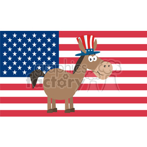 democrat donkey cartoon character with uncle sam hat over usa flag vector illustration flat design style isolated on white clipart. Royalty-free image # 399821