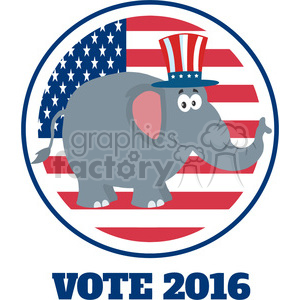 funny republican elephant cartoon character with uncle sam hat over usa flag label vector illustration flat design style isolated on white clipart. Royalty-free image # 399841