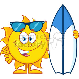 10115 happy sun cartoon mascot character with sunglasses holding a surf board vector illustration isolated on white background clipart. Royalty-free image # 399862