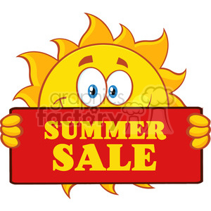 cute sun cartoon mascot character holding a sign with text summer sale vector illustration isolated on white background clipart. Royalty-free image # 399882
