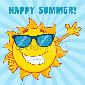 smiling sun cartoon mascot character with sunglasses waving for greeting with text happy summer vector illustration with blue background background. Royalty-free background # 399892