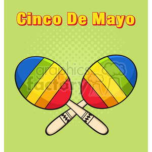 colorful mexican maracas crossed vector illustration halftone background and text cinco de mayo clipart. Royalty-free image # 399902