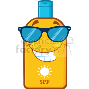 smiling bottle sunscreen cartoon mascot character with sunglasses sun and text spf vector illustration isolated on white background clipart. Royalty-free image # 399912