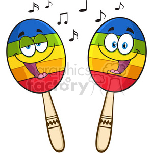 two colorful mexican maracas cartoon mascot characters singing vector illustration isolated on white background clipart. Royalty-free image # 399922