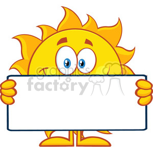 10113 cute sun cartoon mascot character holding a blank sign vector illustration isolated on white background clipart. Royalty-free image # 399932