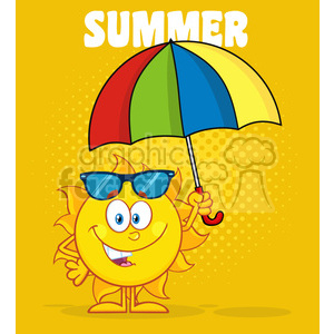 10128 cute sun cartoon mascot character holding a umbrella vector illustration with yellow halftone background and text summer clipart. Royalty-free image # 399942