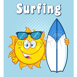 happy sun cartoon mascot character holding a surf board with text surfing vector illustration over green halftone background clipart. Royalty-free image # 399952