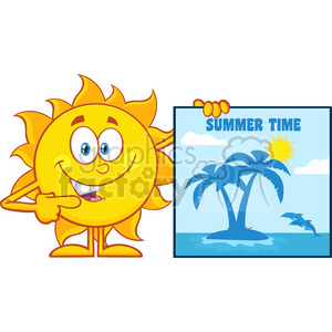 10132 talking sun cartoon mascot character pointing to a poster sign with tropical island and text summer time vector illustration isolated on white background clipart. Royalty-free image # 399962