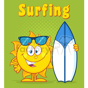 10116 happy sun cartoon mascot character holding a surf board with text surfing vector illustration over green halftone background clipart. Commercial use image # 399972