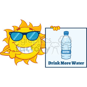 talking sun cartoon mascot character with sunglasses pointing to a sign with text drink more water vector illustration isolated on white background clipart. Royalty-free image # 399982