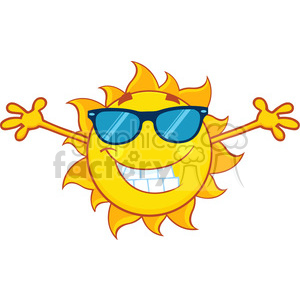 smiling summer sun cartoon mascot character with sunglasses and open arms for hugging vector illustration isolated on white background clipart. Royalty-free image # 399992