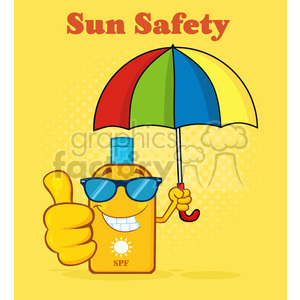 nature weather summer sun sunny cartoon sunscreen lotion sun+lotion umbrella smile happy thumbs+up