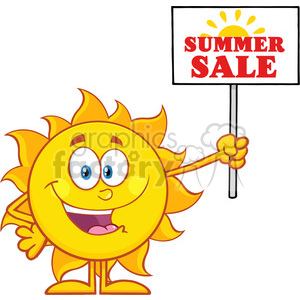 10140 summer sun cartoon mascot character holding a sign with text summer sale vector illustration isolated on white background clipart. Royalty-free image # 400032