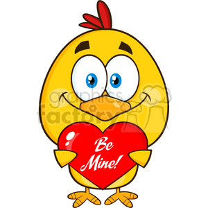 cute yellow chick cartoon character holding a be mine valentine love heart vector illustration isolated on white clipart. Commercial use image # 400052