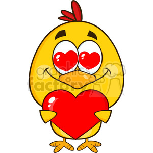 cute yellow chick cartoon character holding a valentine love heart vector illustration isolated on white clipart. Commercial use image # 400062
