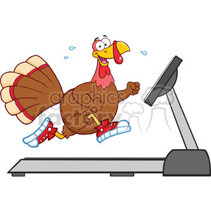 smiling turkey cartoon character running on a treadmill vector illustration isolated on white clipart. Commercial use image # 400072