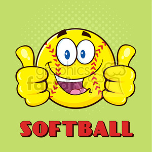 happy softball cartoon character giving a double thumbs up vector illustration with green halfone background and text softball clipart. Royalty-free image # 400092
