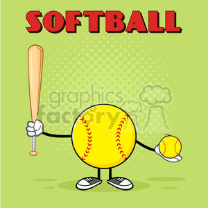 softball faceless player cartoon mascot character holding a bat and ball vector illustration with green halfone background and text softball clipart. Royalty-free image # 400102