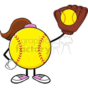 softball girl faceless cartoon character holding a bat and glove with ball vector illustration isolated on white background clipart. Royalty-free image # 400112