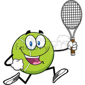 tennis ball cartoon character running with racket vector illustration isolated on white clipart. Commercial use image # 400122
