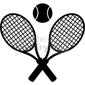 crossed racket and tennis ball black silhouette vector illustration isolated on white clipart. Royalty-free image # 400142