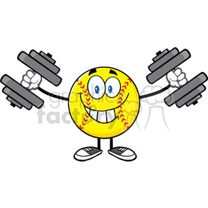 smiling softball cartoon mascot character working out with dumbbells vector illustration isolated on white background clipart. Commercial use image # 400152