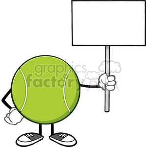 tennis ball faceless cartoon mascot character holding a blank sign vector illustration isolated on white background clipart. Royalty-free image # 400172